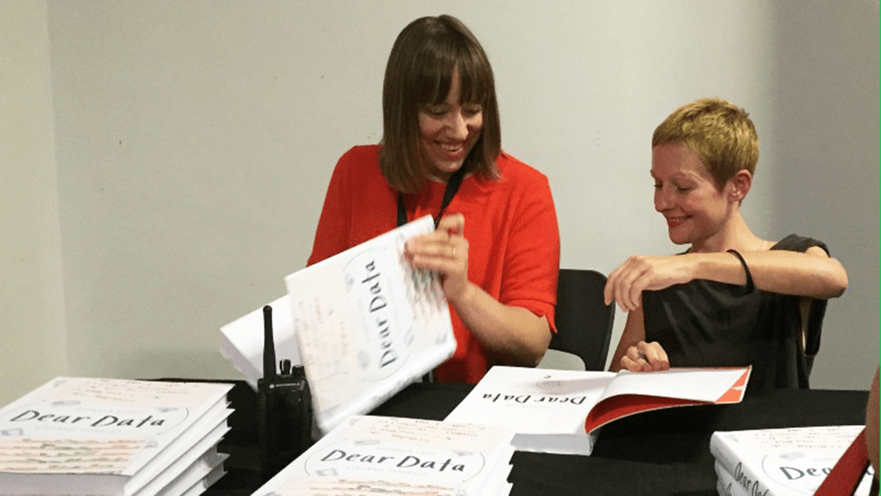 Giorgia and Stefanie signing Dear Data books