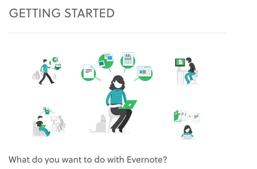 """Ways to Use Evernote"" Onboarding Guides"