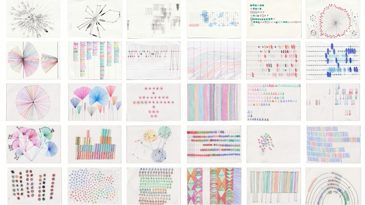 A sampling of Dear Data postcards